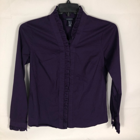 Lands End Purple Ruffle V Neck Small Button Top